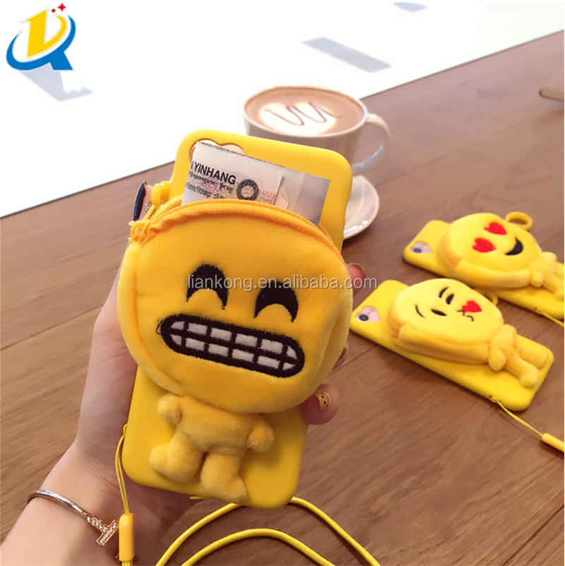 Fashion durable wholesale emoji plush new design cell phone case with coin purse
