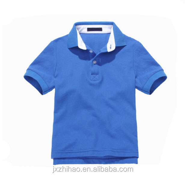 high quality short sleeve polo collare blue cotton kids polo tee