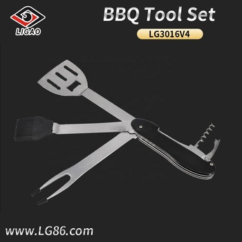 Eco-friendly and portable 5-in-1 grill tool set with brown box