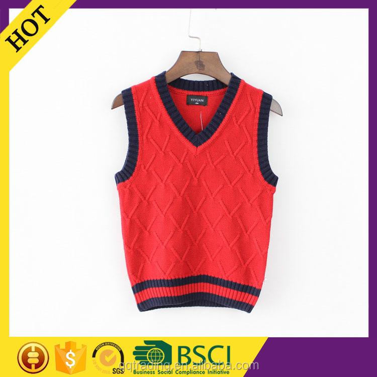 Red color 9GG machine knitted sleeveless v-neck fashion children sweater vest