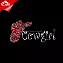 Cowgirl Rose Color Red Hat Rhinestone Iron On Sequin Transfers