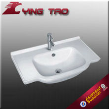 Color white floating public bathroom sinks