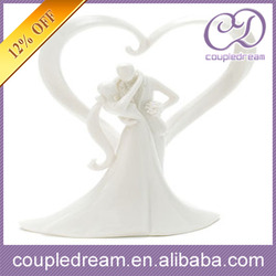 Stylish Embrace Ceramic Cake Topper Bride And Groom On Sale