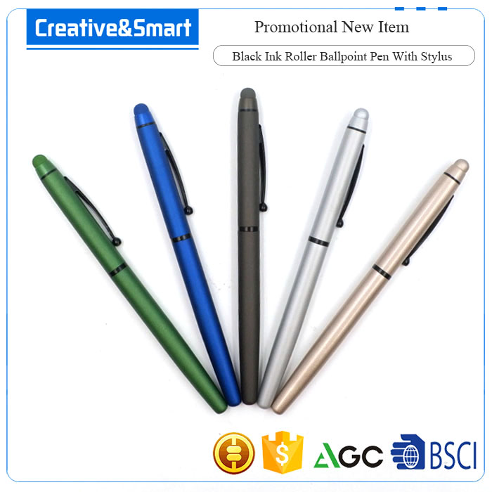 2017 New Item 1-Dollar Promotional Matte Surface Ink Black Fineliner Precision Universal Metal Roller Pen/ Stylus Touch Pen