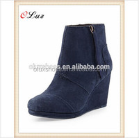 Pu material upper hidden heel royal blue high quality pretty look wedge ankle boot