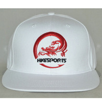 Professional custom 6 panel Flat brim hat/white / 100% cotton/front logo embroidery