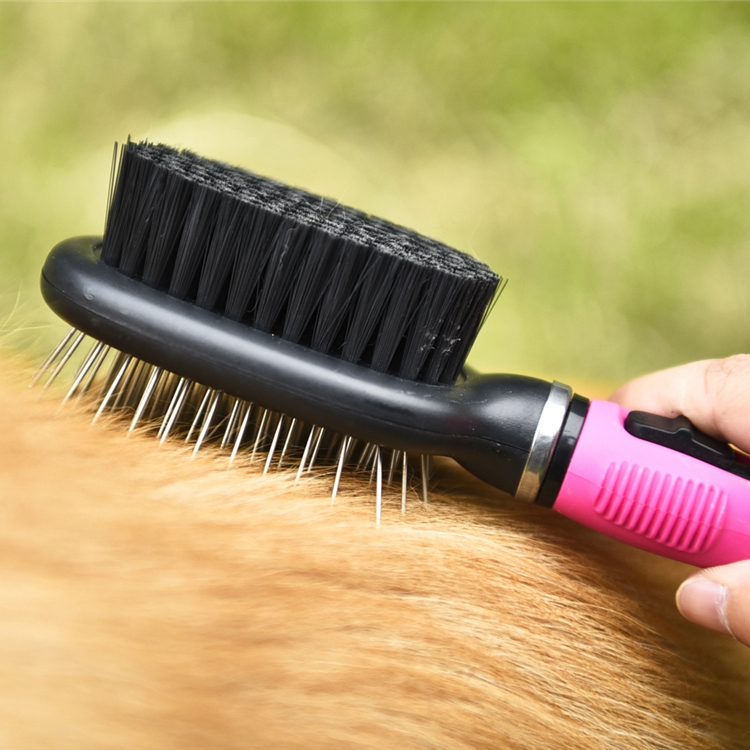 Tianyuan factory wholesale pet fur cleaning brush double sided,pet brush comb for cleaning