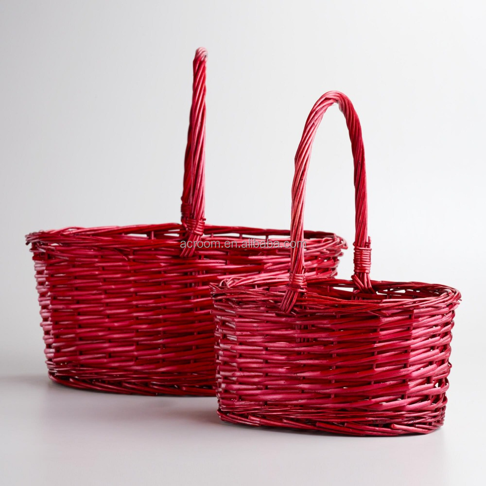 Red Oval Isabella Baskets proofing basket rattan easter wicker hanging baskets wholesale