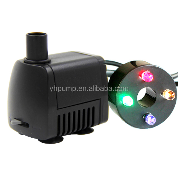 Ac 12v submersible small water fountain pump with colorful for Small water fountain pump