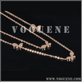fashion flower lucky double chains decorate rose gold necklace