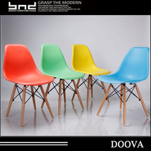 Popular design KD dinning chair plastic seat with beech wood legs
