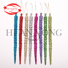Wholesale glitter plastic christmas tree hanging icicle ornaments for home and christmas tree decor