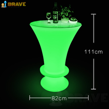 night club lighted up led used high bar tables, colorful bar furnitures