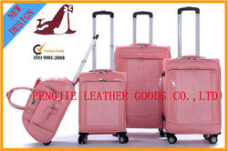 Pink real push button travel luggage