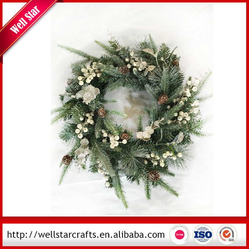 2016 Popular Floristry artifical decoration Christmas Wreath for promotion