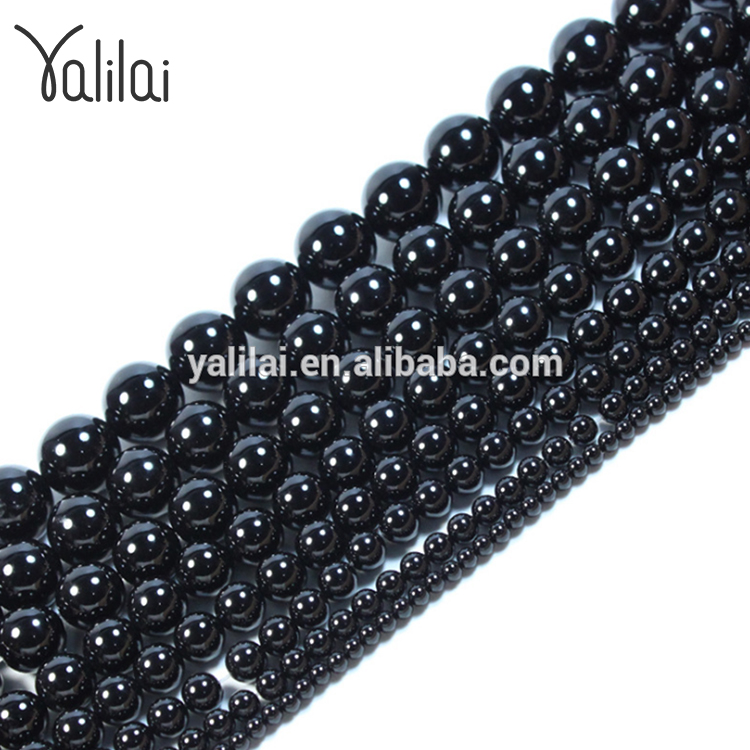 Production of natural black agate beads 14mm