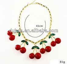 Cherry Charms Lariat Necklace 2014,Wholesale Fashion Red Resin Jewelry Women Necklace
