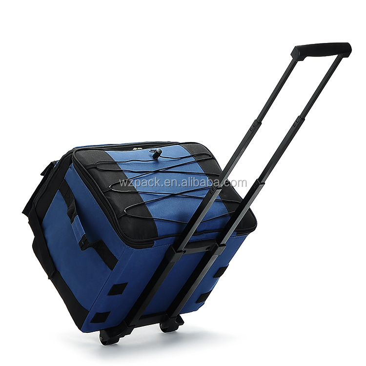 OEM ODM Custom Storage Insulated Picnic FoldableTrolley Bag Shoulder Cooler Travel Wheeled Cooler