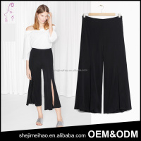 Fashion Casual Cropped Trousers Black Split Wide Leg Pants for Women
