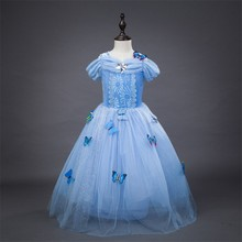 Hot sale costume dress Cinderella dress with butterfly decorate in movie cosplay BXHD01