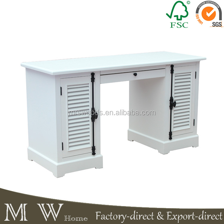 french country double sided office desk with drawers louvered doors wood desk, white desk wood, white desk