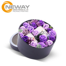 Custom design printed cardboard paper round flower box gift packaging box
