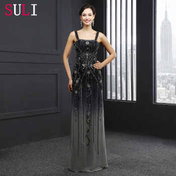 SL8281 Charming Luxury Prom Dress Black Beading Pearls Crystal A Line Custom Party Evening Gown 2016