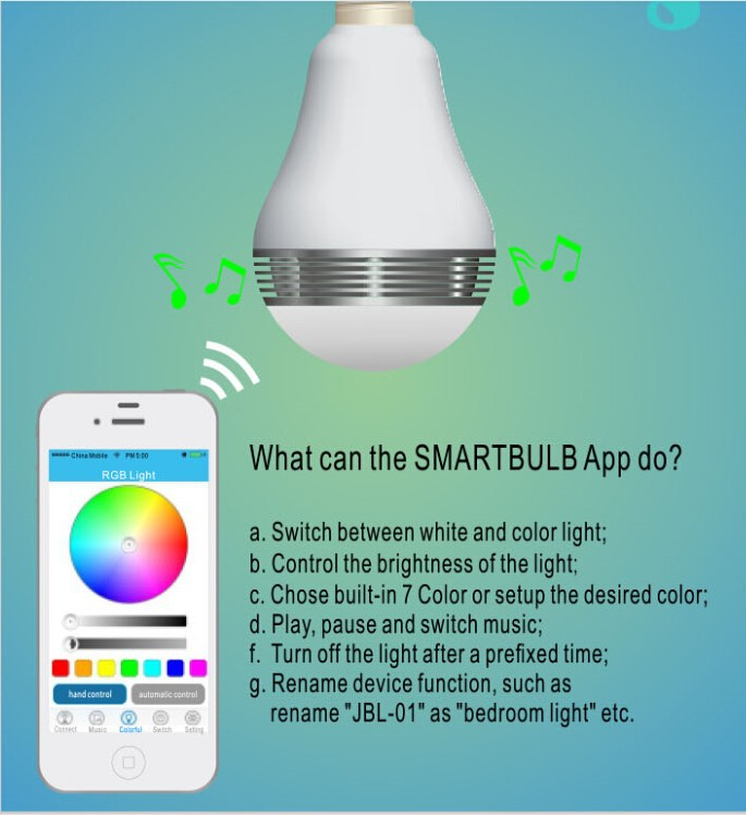 2015 New 640000 Color Changing Music Smart Wireless LED Bulb