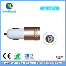 Emergency Safety Metal Car USB Charger Mobile Gadget Dual USB Outlet Vehicle Charger made in China Factory