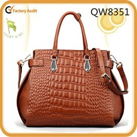 Big Discount Brown Crocodile Leather Woman Handbag Leather Tote bags Wholesale fashion 2015 Free Shipping