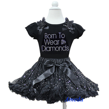 Black Silver Sparkle Pettiskirt Plus Rhinestone Born To Wear Diamonds Black Short Sleeves Tee Party Dress 1-7Y