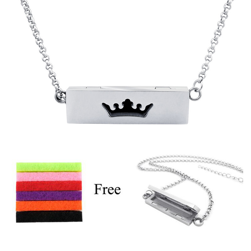 2019 hot crown 5MM*10MM*35MM square stainless steel essential oil diffuser necklace