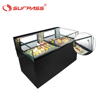 Vertical showcase small chocolate cake counter display chiller