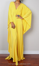 Yellow Kimono Dress Turkish Kaftan Dress Designs 2016 HSD2222