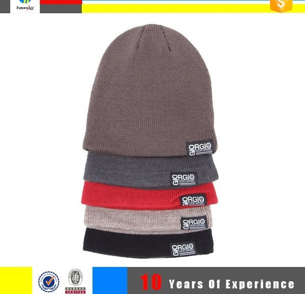 wholesale knit beanie with custom woven label