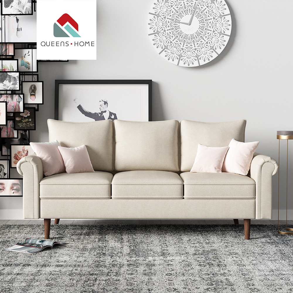 Queenshome Arabian aviator baileye style arias ashley living room classic fabric american three seat modern white sofa <strong>furniture</strong>
