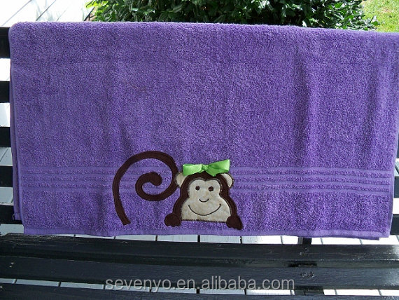 100%cotton customized Fast Dry Purple Monkey Bath Towel - bt-135