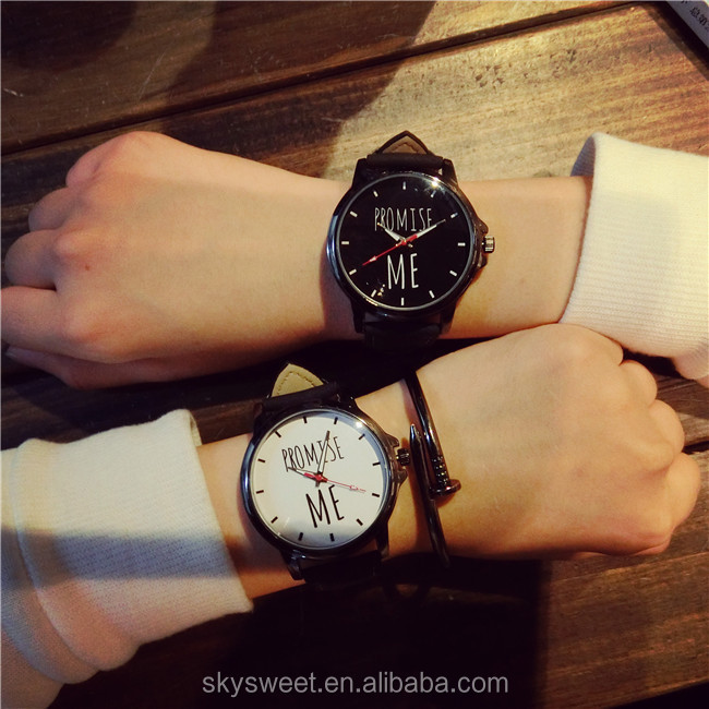 4.5cm big dial PROMISE ME couple wrist watch,man leather watch lady watch(SWTPW53)