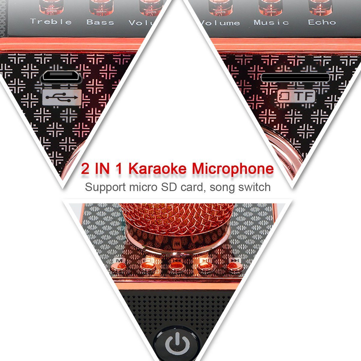 Portable Wireless Karaoke Microphone with Disco LED Lights,H8 Mini Handheld Karaoke Mic Built in Speakers for Party,Singing,Kid
