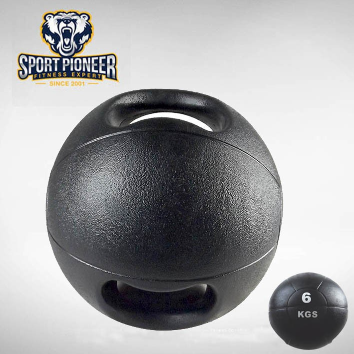 2016 new 6KG Fitness Double Handle Medicine Ball Supplier,bouncy ball with handle