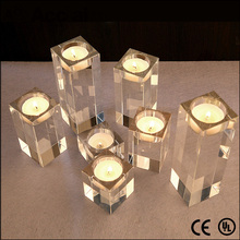 personalized square glass crystal candle holder for dining room