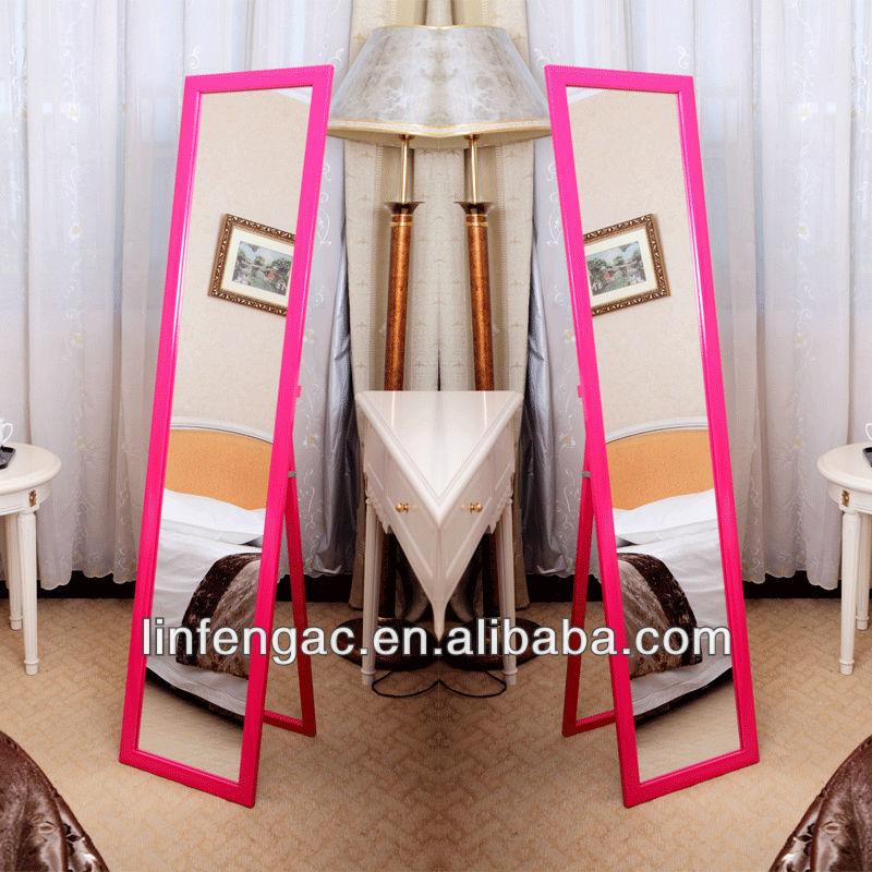 Moderno dise o de espejo de tocador blanco marco de madera for Espejos de pie de madera