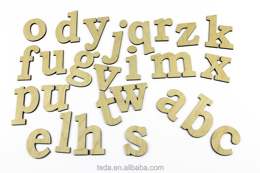 wooden decoration alphabet letters and icons