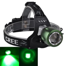 2017 new zooming green hunting flashlight led headlamp