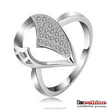 Wholesale Copper Silver Plated Boys Rings Fashion Crystal Pave Teardrop Punk Ring CRI0088