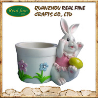 Garden decoration resin rabbit pot