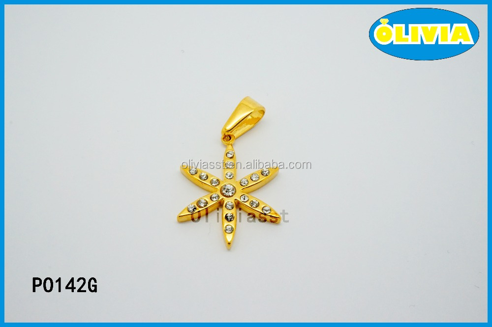 Olivia Jewelry New Design Gold Plated large Starfish Pendant with Natural Stone