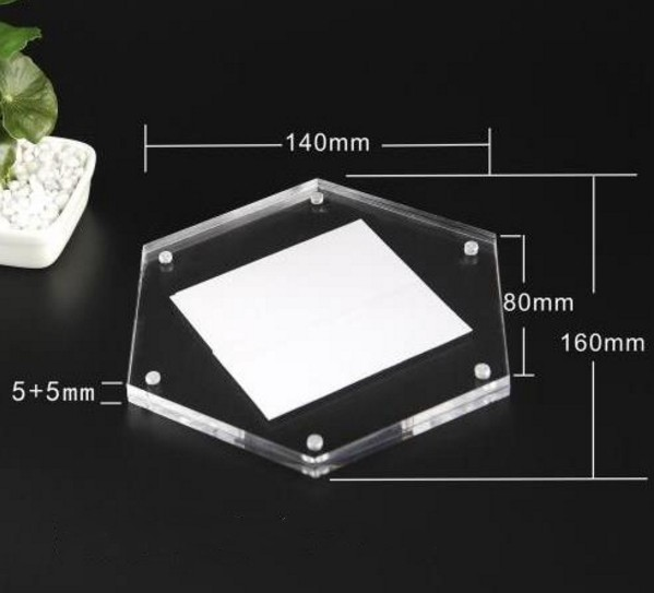 Elegant hexagon acrylic magnetic photo frame acrylic picture display frame
