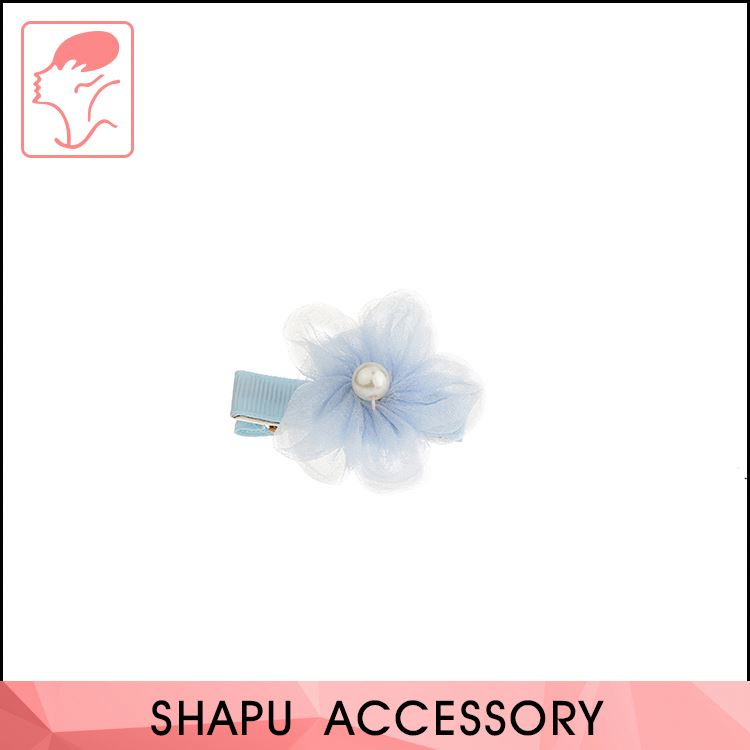 Kids hair solid color flower shape accessories fancy fabric hairpin hair clips for children hair clips