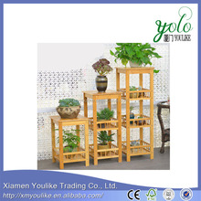 bamboo wood Flower dispaly corner shelf rack